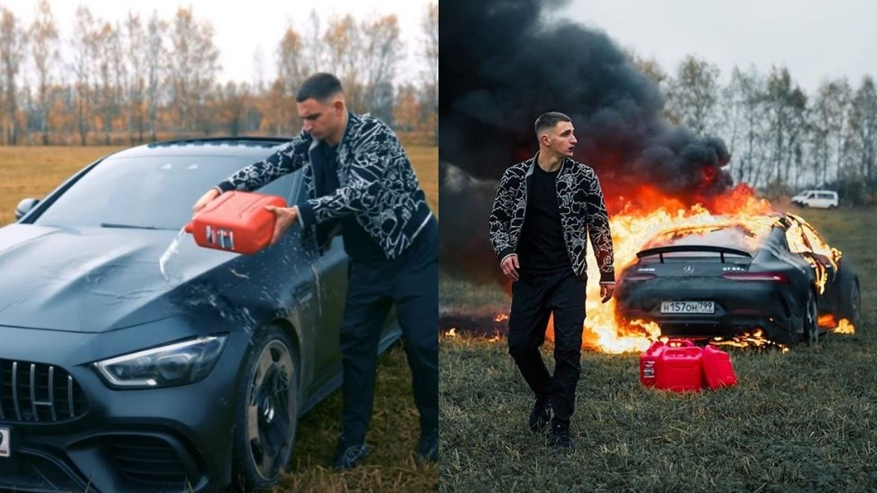 Youtuber ने ब्रांड-न्यू Mercedes को कर दिया आग के हवाले, वजह आपको कर देगी हैरान ! Watch Video